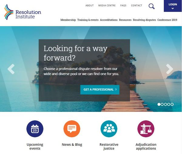 Resolution Institute website homepage April 2019